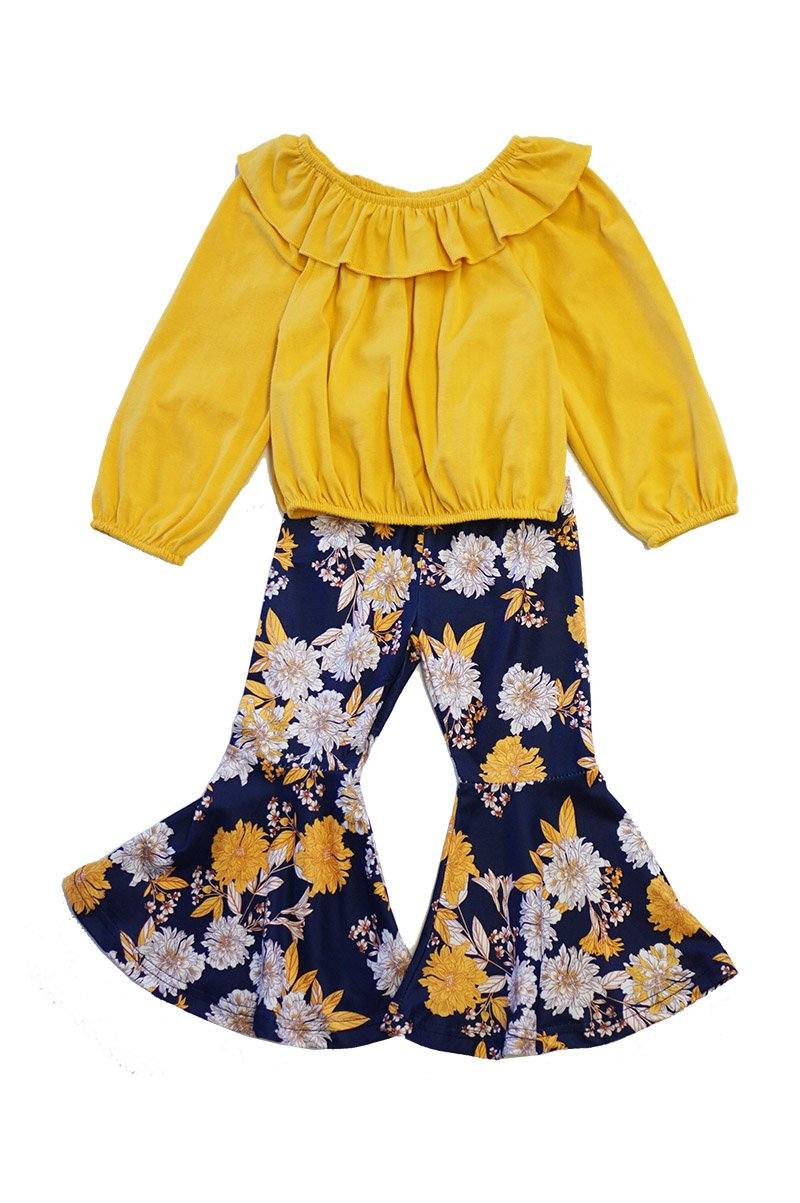 Mustard Navy lace daisy bell pants set