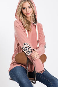 ROSE LEOPARD ELBOW PATCH HOODIE