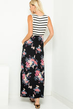Load image into Gallery viewer, Striped sleeveless floral contrast maxi dresses