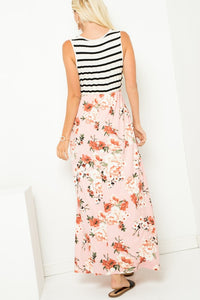 Striped sleeveless floral contrast maxi dresses
