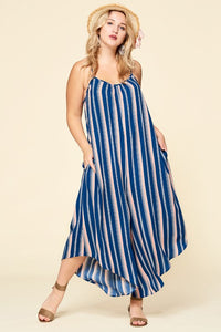 Sleeveless Stripe Printed Jumpsuit