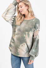 Load image into Gallery viewer, Olive crochet & tie dye top