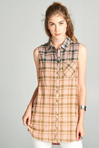 Hunter green Sleeveless ombre plaid top