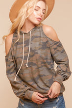 Load image into Gallery viewer, Camo cold shoulder hoodie