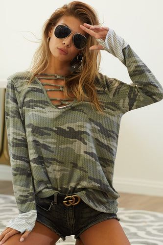 Camo Caged Neck Striped Cuff Thermal Top