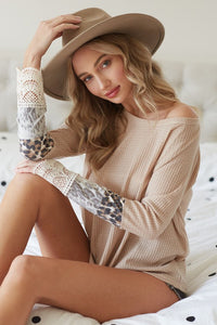 Taupe leopard & crochet cuff top PREORDER