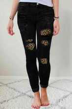 Load image into Gallery viewer, Black Leopard Patch Destroyed Skinny Jeans