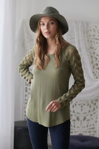 Olive Thermal Fishnet Lace Top