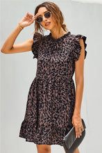 Load image into Gallery viewer, Leopard Print Ruffled Swing Dress