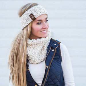 Handmade Knit Leather Button Band Headband