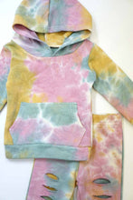 Load image into Gallery viewer, Yellow/Pink/Green Tie dye hoodie distressd set