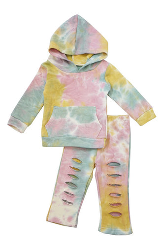 Yellow/Pink/Green Tie dye hoodie distressd set