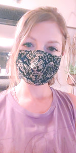 Black & Tan Paisley Pleated Face mask