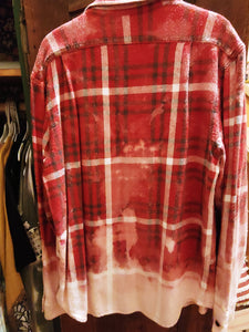 Red & Navy hand dipped vintage flannel Large