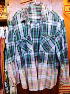 Blue & Green hand dipped vintage flannel XL