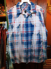 Load image into Gallery viewer, Sleeveless blue & red hand dipped vintage flannel L
