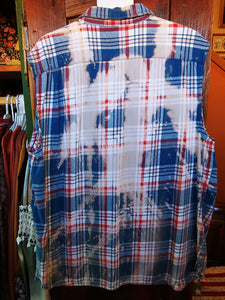 Sleeveless blue & red hand dipped vintage flannel L