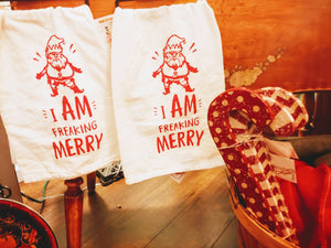 I am freaking Merry! Dish towels