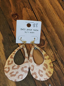 Faux leather leopard Printed shimmer Earrings