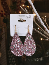 Load image into Gallery viewer, Lilac Glitter Faux Leather earrings