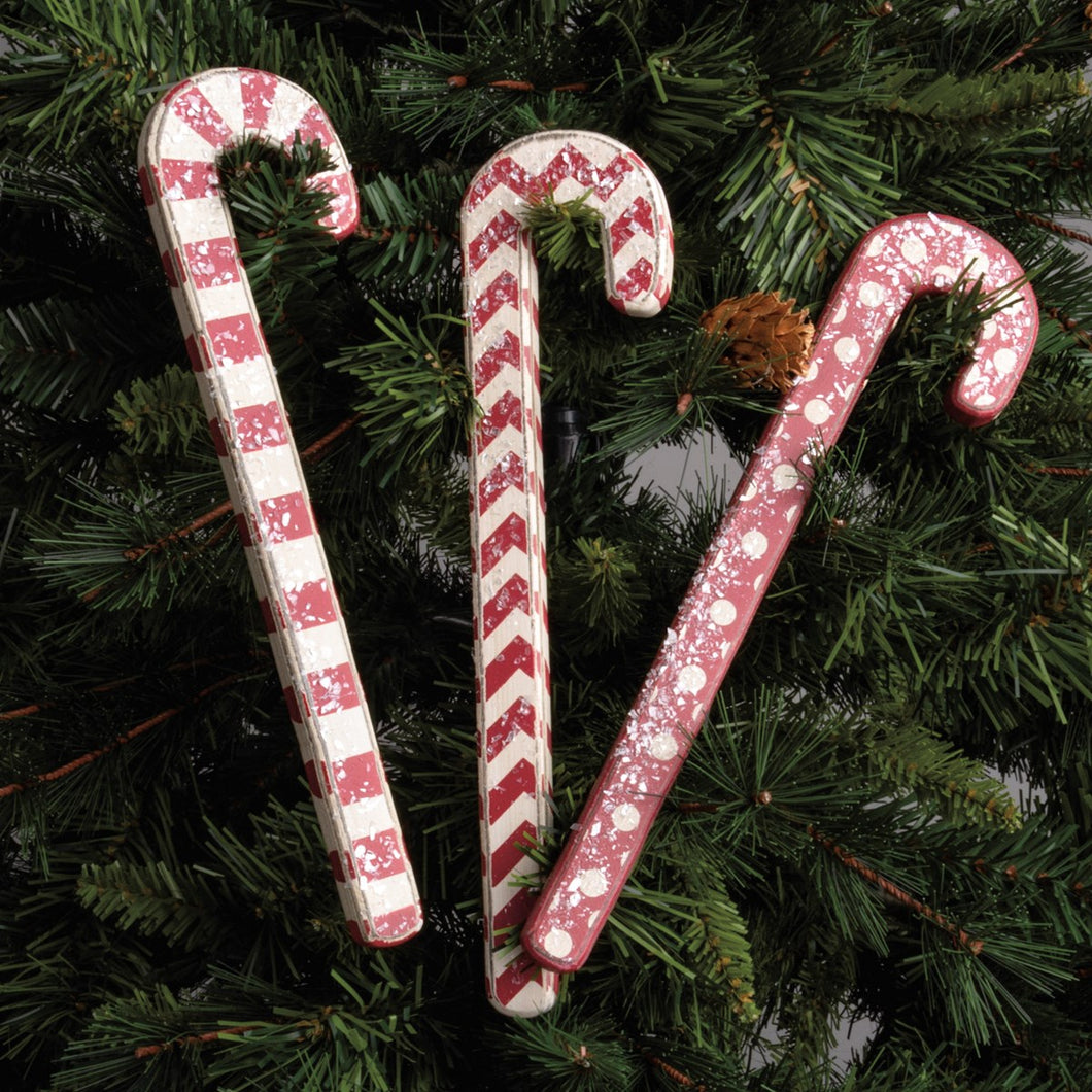 Wood Red Candy Canes Set