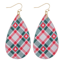 Load image into Gallery viewer, Faux Leather Christmas Teardrop Earrings