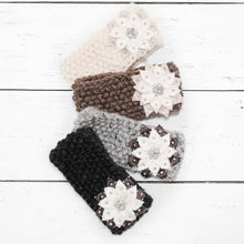 Load image into Gallery viewer, Hand Knit Snowflake Flower Headband