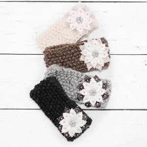 Hand Knit Snowflake Flower Headband