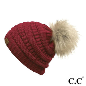 Red C.C faux fur pom beanie