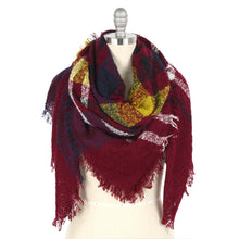 Load image into Gallery viewer, Burgundy Plaid print blanket scarf