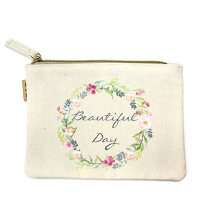 Beautiful Day canvas tote & travel pouch set