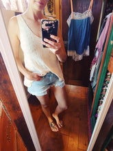 Load image into Gallery viewer, Light washed distressed denim shorts