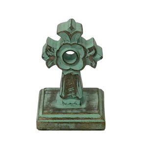 Carved Wood Louis Tabletop Cross