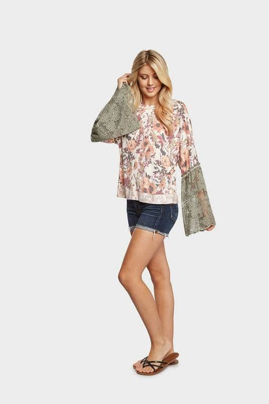 Floral Top with Lace Bell Sleeves