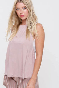 Dusty blush criss cross open back tank top