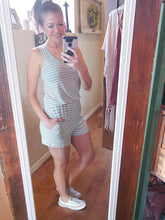 Load image into Gallery viewer, Grey striped tie back romper