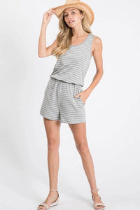 Grey striped tie back romper