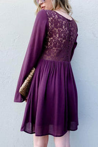 Purple Back Lace Button Down Dress