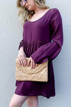 Load image into Gallery viewer, Purple Back Lace Button Down Dress