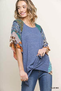 Mixed Print Round Neck Heathered Knit Top