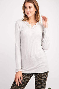 OATMEAL long sleeve lace trim ribbed top