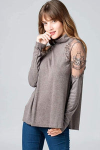 Embroidered Mesh Shoulder Inset Ribbed Top