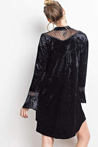 Black velvet & Lace hi-lo dress