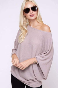 Off shoulder waffle knit Plus top