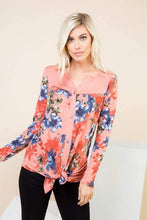 Load image into Gallery viewer, Button Up Long Sleeve Top with Floral Print