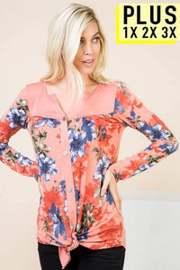Button Up Long Sleeve Top with Floral Print