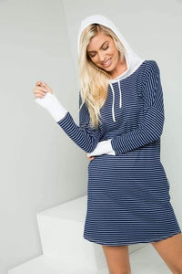Long Sleeve Striped Hoodie Dress