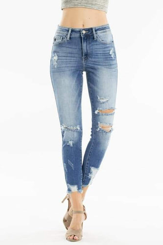 Kancan high waist distressed skinny jeans