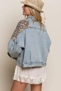 Off duty leopard denim jacket