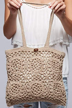 Load image into Gallery viewer, Floral Motif Crochet Tote